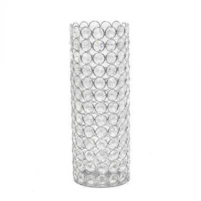 Elegant Designs 11.25 in. Chrome Elipse Crystal Decorative Vase, Grey - Home Depot