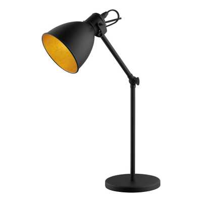 Eglo Priddy 2 17.00 in. Black Desk Lamp with Black/Gold Metal Shade - Home Depot