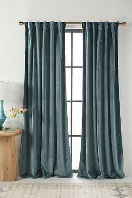 "Velvet Louise Curtain By Anthropologie in Blue Size 108"" - Anthropologie"