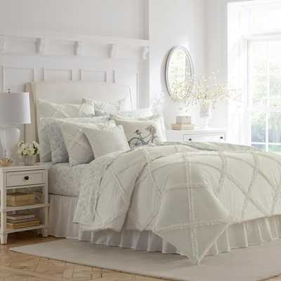 Laura Ashley 3-Piece Adelina Full/Queen Comforter Set, White - Home Depot