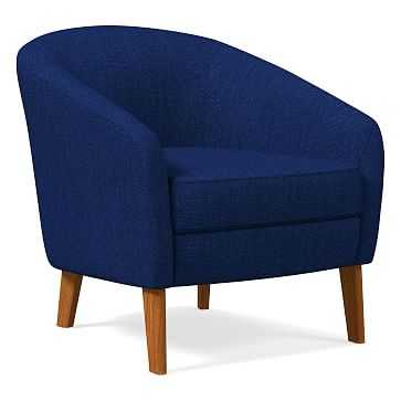 Jonah Chair, Basket Slub, Sapphire, Pecan - West Elm