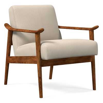 Midcentury Show Wood Chair, Poly, Performance Washed Canvas, Natural, Pecan - West Elm