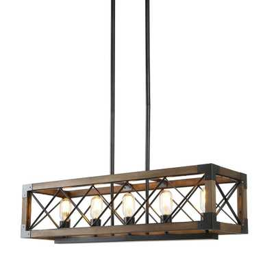 LNC Eliora 31.5 in. 5-Light Wood Island Chandelier with Painted Black Accents - Home Depot