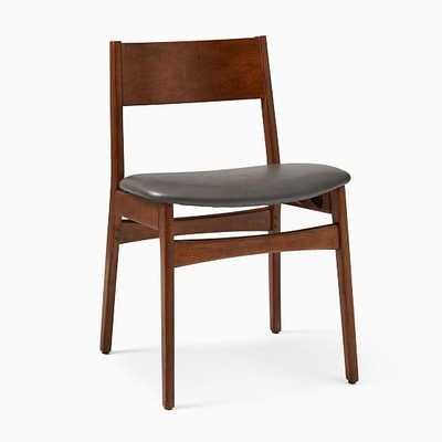 Baltimore Dining Chair, Vegan Leather, Cinder, Walnut - West Elm