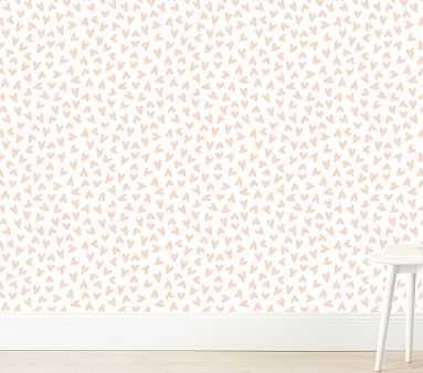 Scatter Hearts Wallshoppe Wallpaper, Pink - Pottery Barn Kids