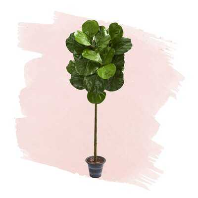 "40"" Artificial Fiddle Leaf Fig Tree in Decorative Planter - Wayfair"