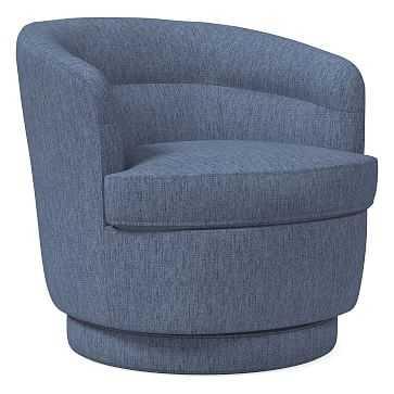 Viv Swivel Chair, Performance Coastal Linen, Midnight - West Elm