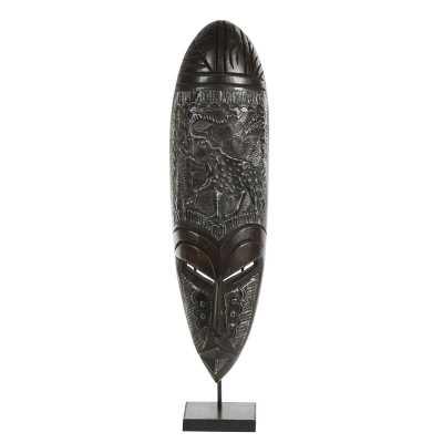 Cole & Grey Large Hand-Carved Baobab Wood & Aluminum Ashanti Mask On Stand - Perigold