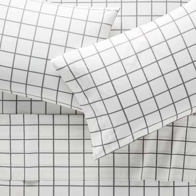 Organic Grey Grid Full Sheet Set - Crate and Barrel
