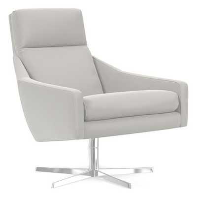 Austin Swivel Base Chair, Sierra Leather, Snow, Polished Nickel - West Elm