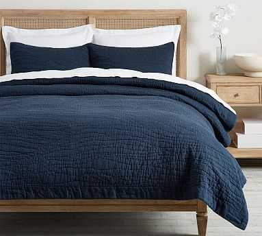 Belgian Flax Linen Handcrafted Quilt, Full/Queen, Midnight - Pottery Barn