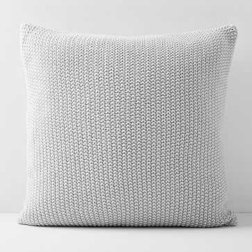"Cotton Knit Pillow Cover 20""x20"", Set of 2, Frost Gray - West Elm"