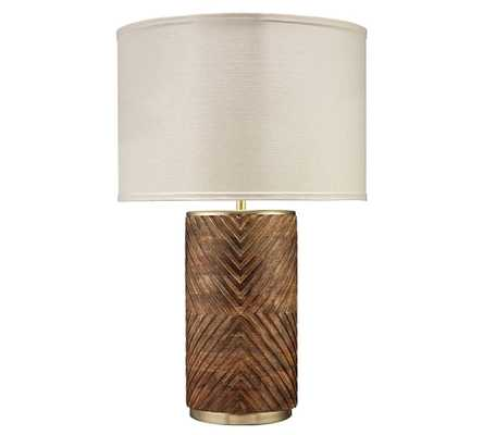 Solana Hand Carved Wood Table Lamp, Matte Brass - Pottery Barn