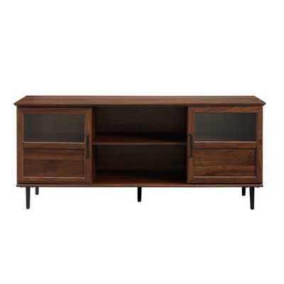 """58"""" Glass & Wood Split Panel Door TV Console Dark Walnut - Saracina Home, Dark Brown - Target"""
