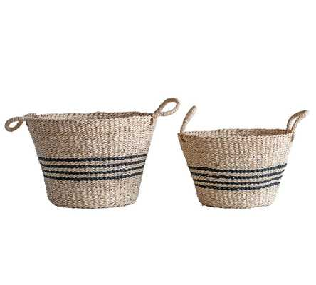Madelyn Striped Seasgrass Baskets, Set of 2 - Pottery Barn