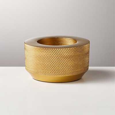 Knurled Gold Tea Light Candle Holder - CB2