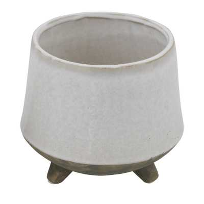 Bloomingville Round White Stoneware Planter with Feet - Perigold