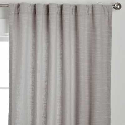 "Cotton Linen Semi-Sheer Curtain, Gray, 44"" x 96"" - Pottery Barn Teen"