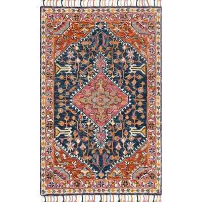 Oriental Hand Hooked Wool Navy/Multi Area Rug - Wayfair