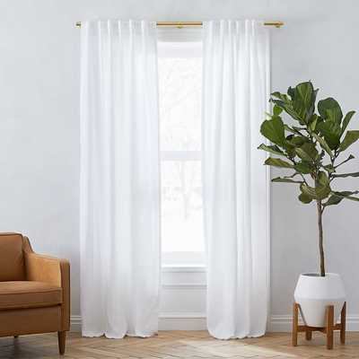 "Custom Size Solid Belgian Flax Linen Curtain with Blackout, White, 72""x112"" - West Elm"