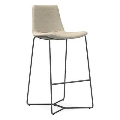 Slope Bar Stool, Chenille Tweed, Silver Gray Charcoal - West Elm