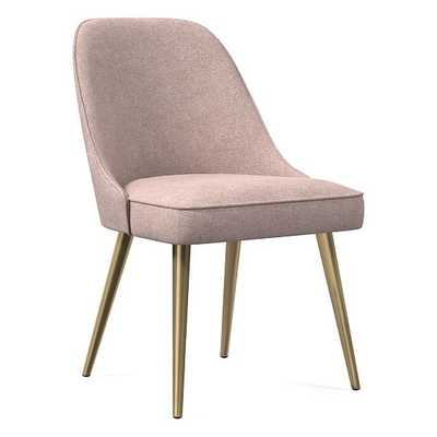 Mid-Century Upholstered Dining Chair, Distressed Velvet, Light Pink, Blackened Brass - West Elm