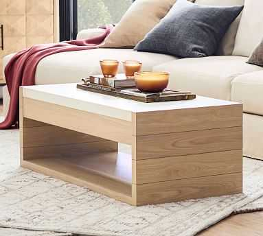 Pacific Marble Coffee Table, Natural Oak - Pottery Barn