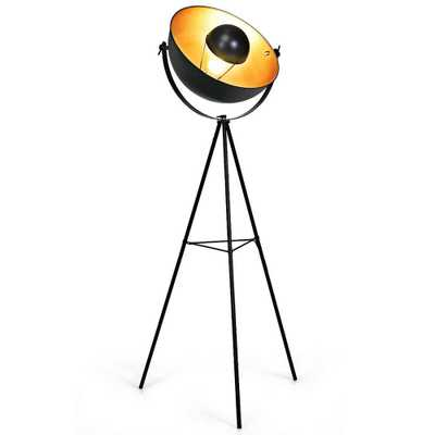 CASAINC 63 in. Black Outdoor TRipod Floor Lamp with Adjustable Metal Legs - Home Depot
