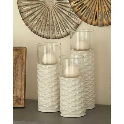 3 Piece Ceramic/Glass Hurricane Set - Birch Lane