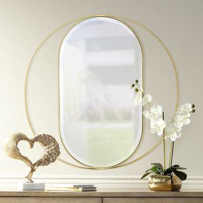 "Maisha 33"" Round Gold Frame Oval Wall Mirror - Style # 69X36 - Lamps Plus"