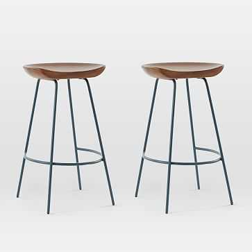 Alden Wood Counter Stool, Mango Wood, Walnut, Petrol Blue, Set of 2 - West Elm