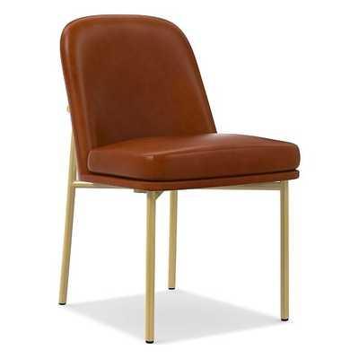 Jack Metal Frame Dining Chair, Leather, Saddle, Light Bronze - West Elm