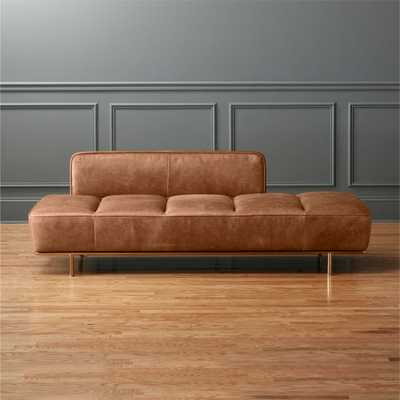 Lawndale Saddle Leather Daybed with Brass Base - CB2
