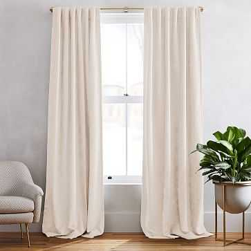 """Textured Upholstery Velvet Curtain with Black Out, Set of 2, Ivory, 48""""x84"""" - West Elm"""