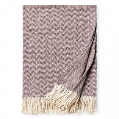 Sferra Modern Celine Cotton Throw - Wine Purple - Kathy Kuo Home