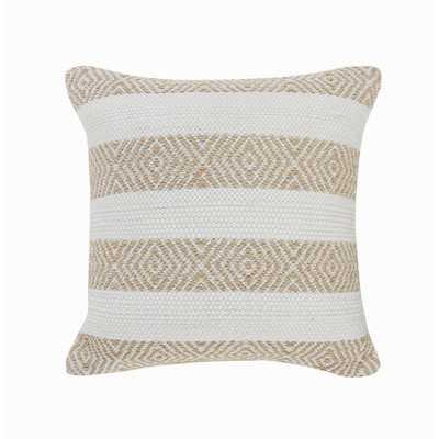 LR Home Rivera Tan / White Geometric Stripped Casual Poly-fill 18 in. x 18 in. Throw Pillow, Tan and White - Home Depot