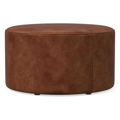 Isla Large Ottoman, Poly, Weston Leather, Molasses, Concealed Supports - West Elm
