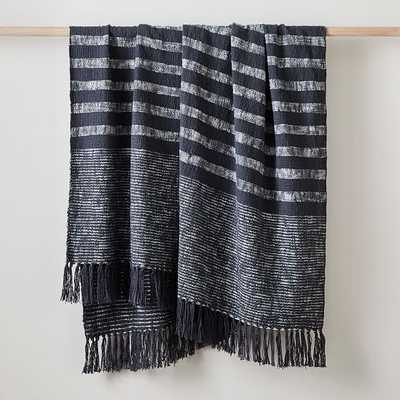 "Classic Stripe Throw, 50""x60"", Pewter - West Elm"