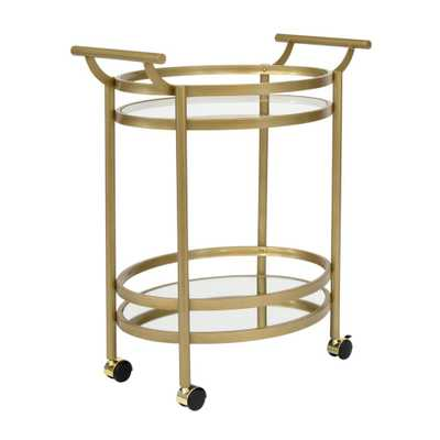 Studio Designs Home Palazzo 2-Tier Oval 27 in. W x 17.5 in. D Metal and Glass Wheeled Bar / Serving Cart in Gold / Clear Glass and Mirror - Home Depot