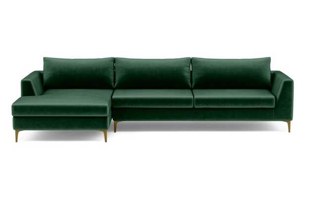 Asher Left Sectional with Green Malachite Fabric, extended chaise, and Brass Plated legs - Interior Define