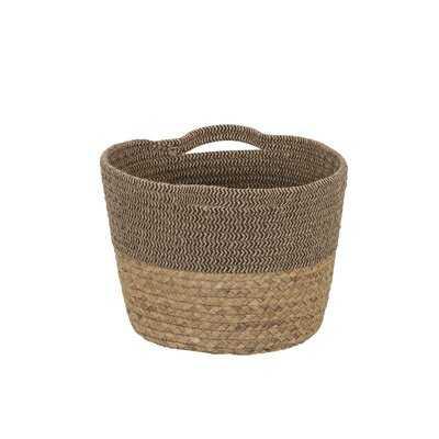 Tweed Cotton Rope And Hyacinth Storage Basket With Side Handles - Wayfair