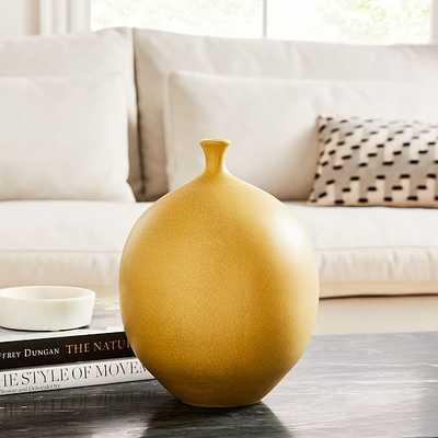 Crackle Glaze Vase, Yellow, Medium Round - West Elm