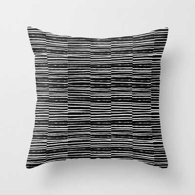 """Paint Brush Free Spirit Pattern Boho Minimal Black And White Modern Art Abstract Painting Urban Deco Couch Throw Pillow by Charlottewinter - Cover (18"""" x 18"""") with pillow insert - Indoor Pillow - Society6"""
