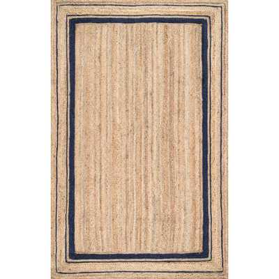 nuLOOM Rikki Braided Border Jute Navy 10 ft. x 14 ft. Area Rug, Blue - Home Depot