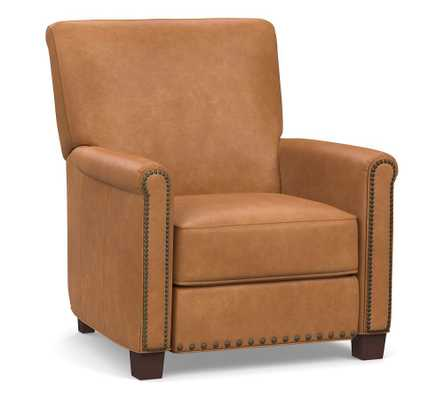 Irving Roll Arm Leather Recliner with Bronze Nailheads, Polyester Wrapped Cushions Churchfield Camel - Pottery Barn
