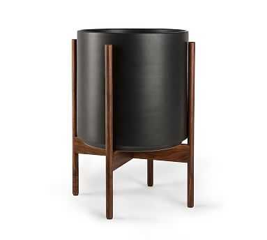 Modern Ceramic Planters with Wooden Stand, Black - Medium - Pottery Barn