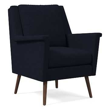 Carlo Mid-Century Chair, Poly, Twill, Black Indigo, Pecan - West Elm