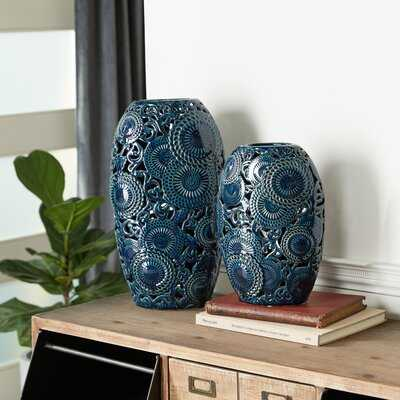 2 Piece Blue Aluminum Table Vase Set - Wayfair