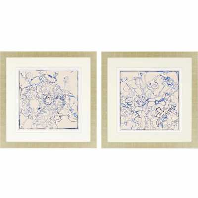 Paragon Indigo Floral 2 Piece Framed Painting Print Set - Perigold