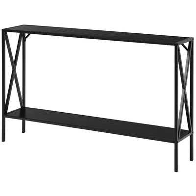 Ebern Designs 2 Tier Console Table Narrow Accent Side Entryway Table Metal Frame Black - Wayfair